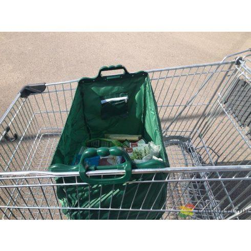 Bevásárló kocsiba akasztható szatyor, zöld