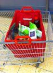 Bevásárlókocsiba akasztható szatyor, piros