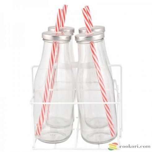 Szívószálas üveg szett tartóban 4x0,4L