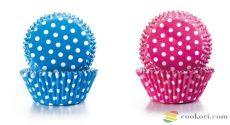 Ibili Muffin kapszli pink/kék pöttyös, 100db