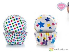 Ibili Muffin kapszli pöttyös/virágos, 100db
