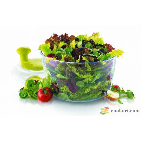 Salad spinner via crank
