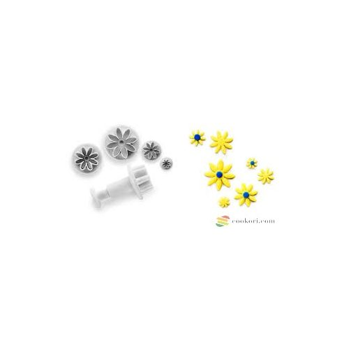 Ibili set of 4 cutters  with ejector daisy