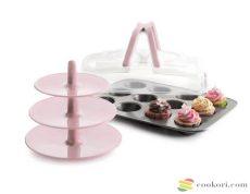 Ibili Muffin sütőforma+szállító+kínáló