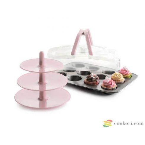 Ibili 12 muffin mould with top+support