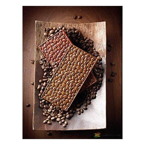 Silikomart táblás csokiforma, kávé mintás